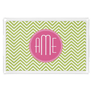 Lime Chevron Pattern with Triple Monogram Rectangle Serving Trays