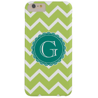 Lime Chevron Teal Monogram Barely There iPhone 6 Plus Case