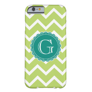 Lime Chevron Teal Monogram Barely There iPhone 6 Case