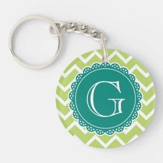 Lime Chevron Teal Monogram Acrylic Key Chain