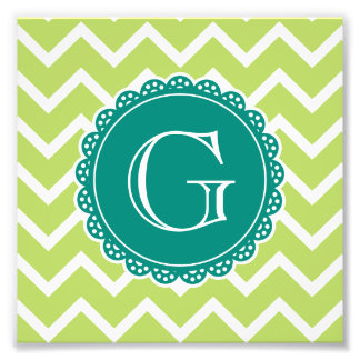 Lime Chevron Teal Monogram Art Photo