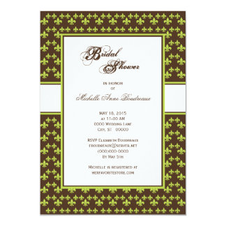 Lime Chocolate Brown Fleur de Lis Bridal Shower Card