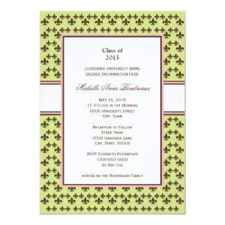 Lime & Chocolate Brown Fleur de Lis Graduation Card