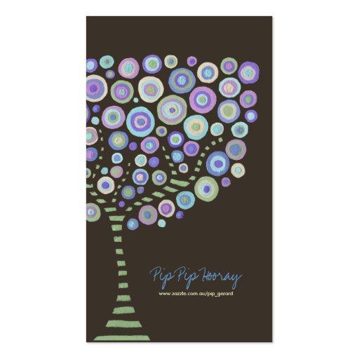 Lime Chocolate Purple Retro Tree Business Card