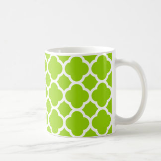 Lime/Citrus Green and White Quatrefoil Pattern Coffee Mug