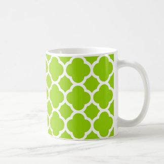 Lime/Citrus Green and White Quatrefoil Pattern Coffee Mug