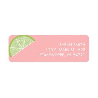 Lime citrus slice pink green return address label