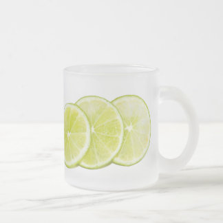 Lime citrus slices frosted glass coffee mug