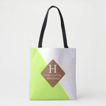 Professional Business Lime Color Split Faux Leather Patch Monogram Tote Bag