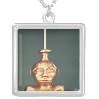Lime Container of Cast Gold, Quimbaya Silver Plated Necklace