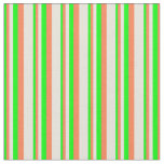 [ Thumbnail: Lime, Coral & Beige Lined Pattern Fabric ]