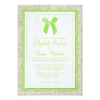Lime Country Burlap Wedding Invitations