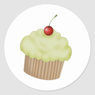 Lime Cupcake Classic Round Sticker