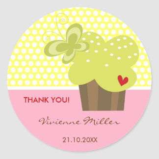 Lime Cupcake Thank You Birthday Party Gift Tag Classic Round Sticker