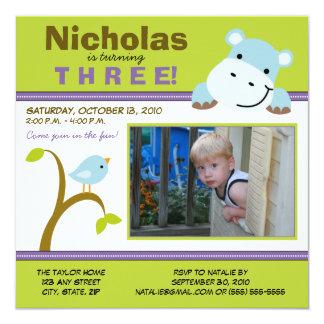 Lime Custom Hippo & Birdie Birthday Party Invite