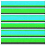 [ Thumbnail: Lime, Cyan, Mint Cream & Black Striped Pattern Fabric ]