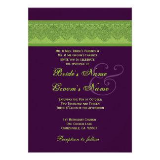Lime Damask and Eggplant Wedding Invitations