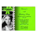 Lime Damask Black Jewel Bow Birthday Photo 4.5x6.25 Paper Invitation Card