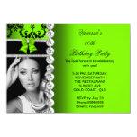 Lime Damask Black Jewel Bow Birthday Photo 4.5x6.25 Paper Invitation Card