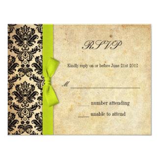 Lime Damask Bow Wedding RSVP Card