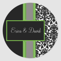 lime damask Wedding Monogram stickers