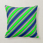 [ Thumbnail: Lime, Dark Blue, Tan, and Orchid Colored Pattern Throw Pillow ]