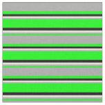 [ Thumbnail: Lime, Dark Gray, Beige & Black Colored Stripes Fabric ]