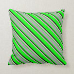 [ Thumbnail: Lime, Dark Gray, Beige & Black Colored Stripes Throw Pillow ]