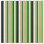 [ Thumbnail: Lime, Dark Salmon, Mint Cream & Black Pattern Fabric ]