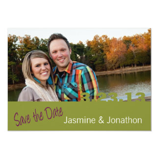 Lime DATE 5x7 Photo Save the Date Wedding Cards