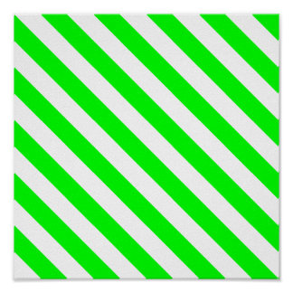Lime Diagonal Stripes Poster