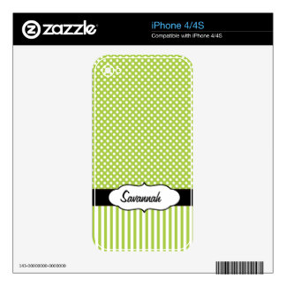 Lime Dots and Stripe Personalized MacBook Air Skin