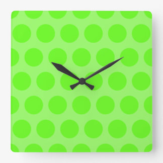 Lime Dots Square Wall Clock