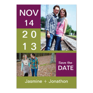 Lime + Eggplant Blocks Save the Date Wedding Cards