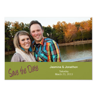 Lime + Eggplant Photo Save the Date Wedding Cards