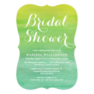 """Lime Emerald Watercolor Bridal Shower Invitation 5"""" X 7"""" Invitation Card"""