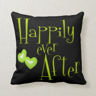 Lime Faux Glitter Happily Ever After Hearts Pillow
