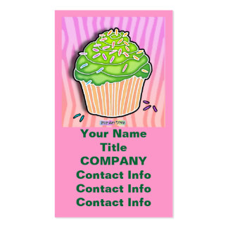 Lime Frosted CUPCAKE BUSINESS CARDS in Pink