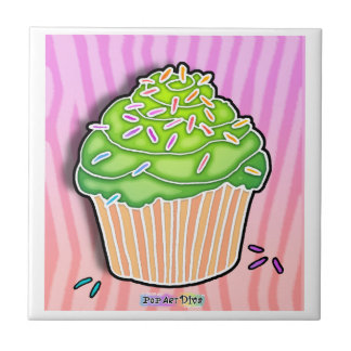 Lime Frosted Cupcake Ceramic Tile
