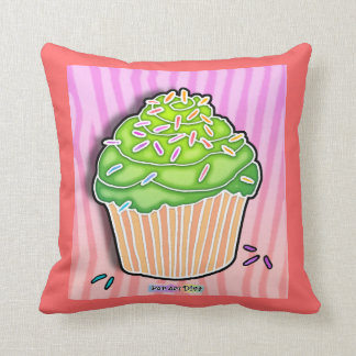 Lime Frosted CUPCAKE Reversible THROW PILLOW