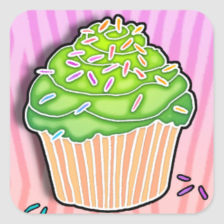 Lime Frosted CUPCAKE STICKER
