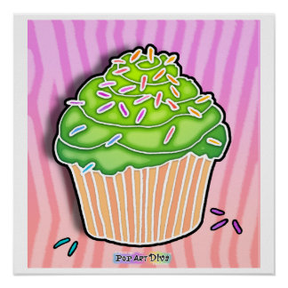 Lime Frosted Pink CUPCAKE POSTER