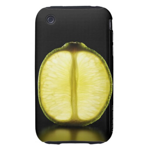 Lime,Fruit,Black background Tough iPhone 3 Cases