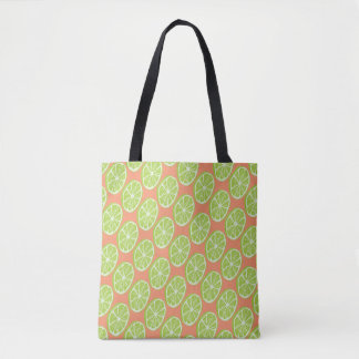 Lime Fruit Slice Pattern Salmon or Custom Color Tote Bag