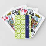 Lime Garden Lattice Print Playing Cards