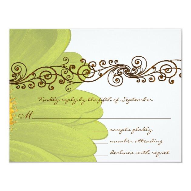 Lime Gerber Daisy Wedding RSVP Card | Zazzle