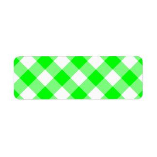 Lime Gingham Return Address Labels