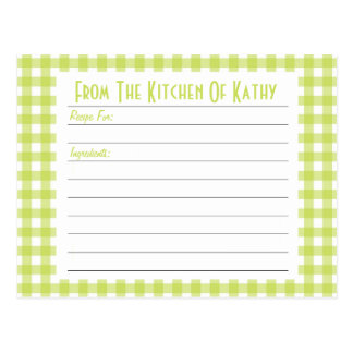 Lime Gingham Recipe Card Post Cards