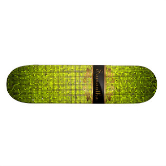 Lime Glitter Sequin Disco Glitz Comp Skateboard
