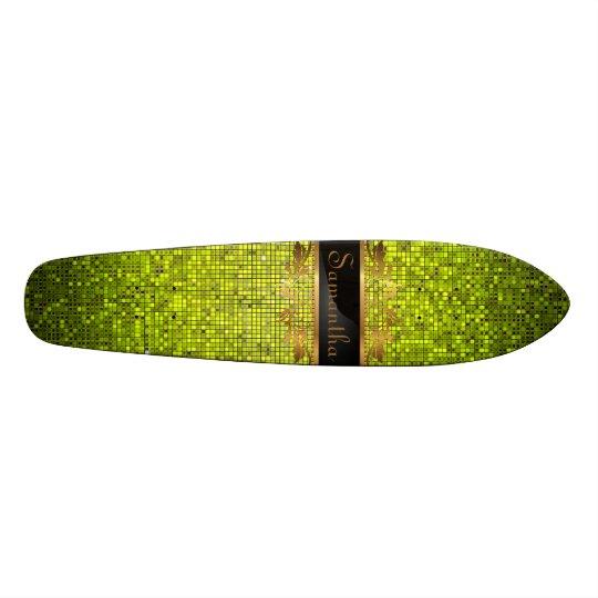 Lime Glitter Sequin Disco Old School Skateboard